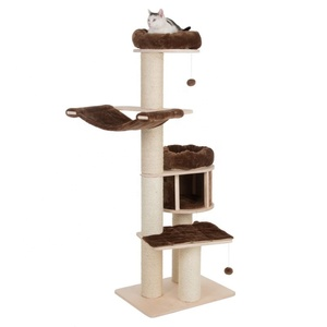 Kratzbaum mit Fressnapf Wooden Cat Tree Wooden Scratching Post Modern Kat Tower Large Natural Paradise Cat Tree Factory