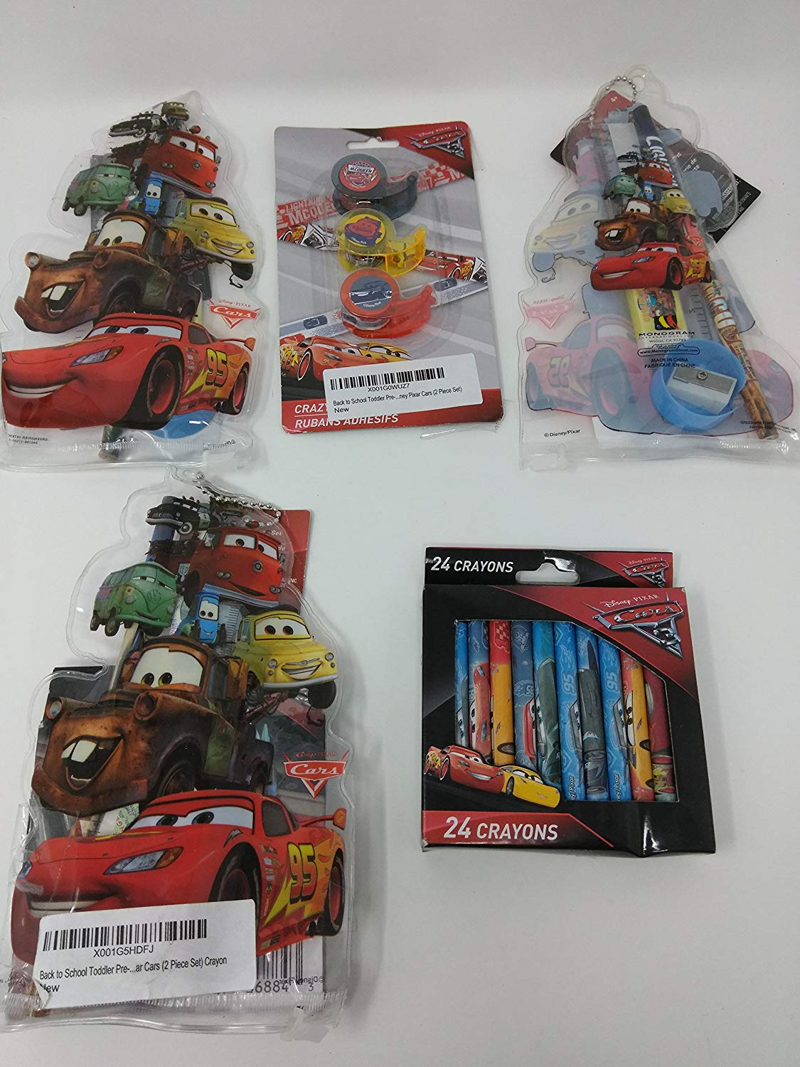 Back to School Toddler Pre-school Elementary School Supplies Pencils Sharpener Border Trim Awards Pixar Car Bundle of 4 Tape