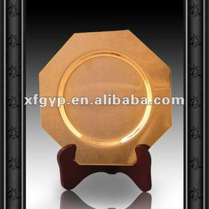 golden metal top and resin/wood base metal plate trophy