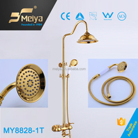 High-End and Luxury Gold Plating Free Standing Complete Bathroom Sets