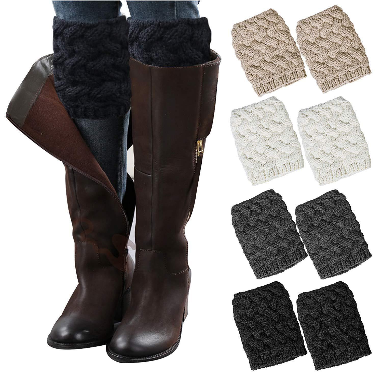 6167a4d68c Get Quotations · Loritta 4 Pairs Women Winter Crochet Knitted Boot Cuffs  Toppers Short Leg Warmer