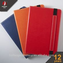 custom pp cover saddle stitching students exercise book pu leather elastic notebook with pocket