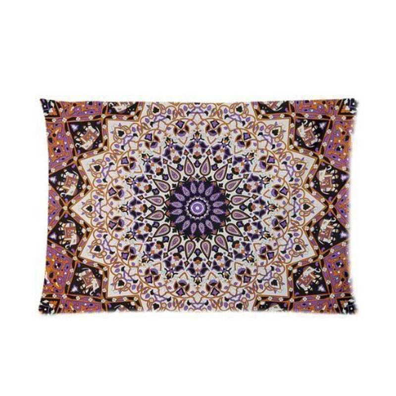 Mandala Tapestry Hippie Tapestries Standard Custom Rectangle Throw Pillow Cover Invisbile Zipper