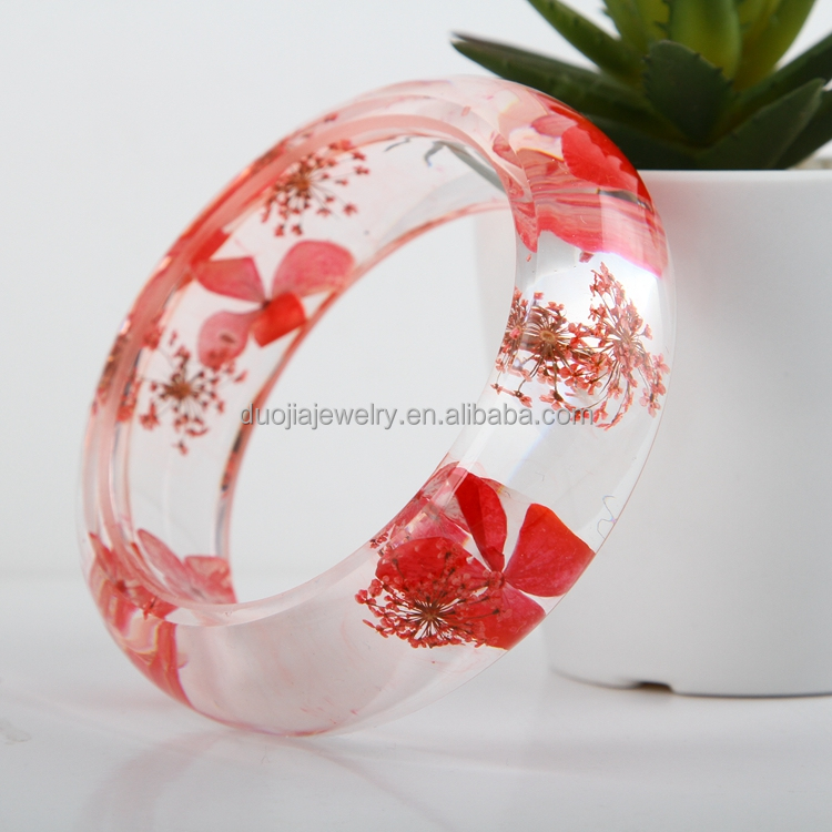 wholesale fashion jewelry Top Quality Bangle with resin dried flower