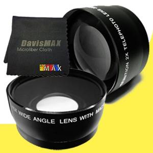 DavisMAX Fibercloth Deluxe Lens Bundle 2x Telephoto Lenses for Sony Alpha NEX-6 with Sony 16-50mm Retractable Zoom Lens 40.5mm Wide Angle
