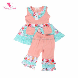 latest fashion summer kids 2pcs sets cotton colorful ruffle baby clothes baby outfits for girl