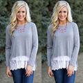 Fashion Women Cotton Lace Crochet Long Sleeve Shirt Tops Blouse