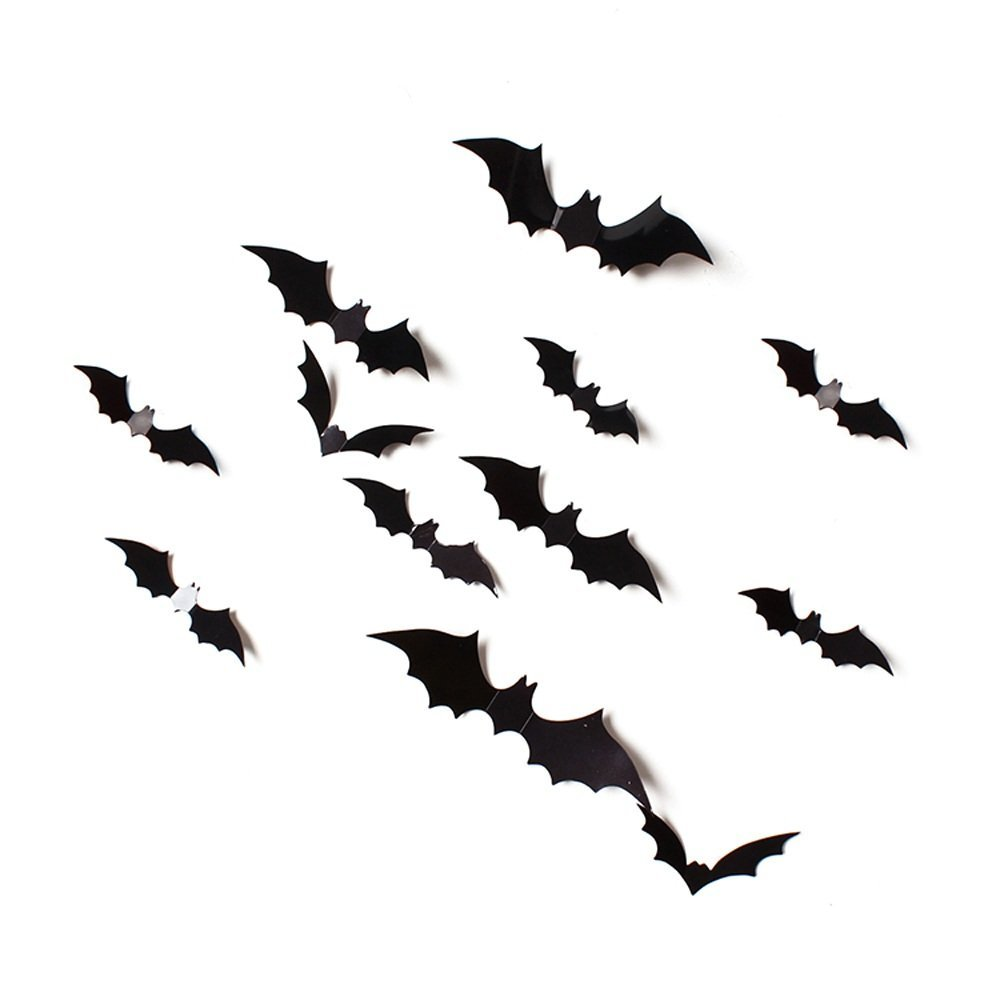 Halloween Bats Wall Decor,24PCS PVC Waterproof 3D Decorative Bat Wall Decor Stickers,DIY Halloween Party Supplies,Halloween Eve Decor Home Window Decoration Set,Removable Wall Decal Kit (Black)