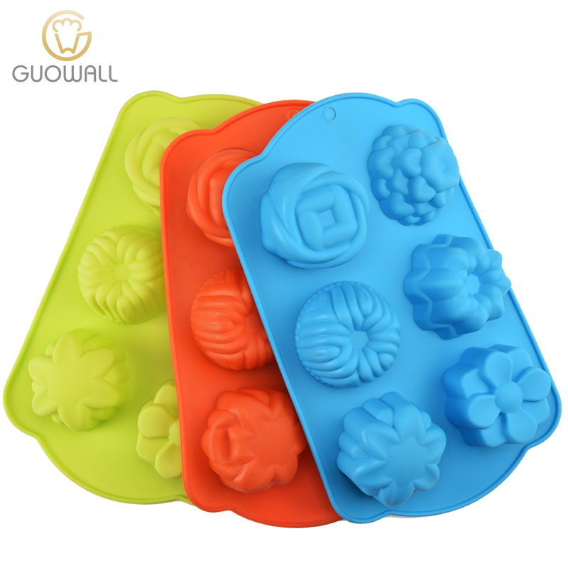 DIY Flower Silicone Cake Mould / Muffin Cups / 6 In 1 Cupcake Mould