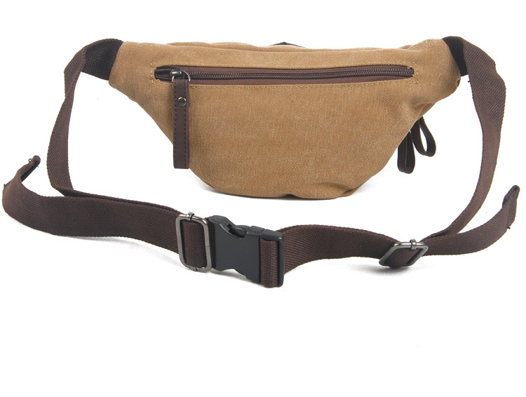 Custom canvas sports waist bag with leather trims