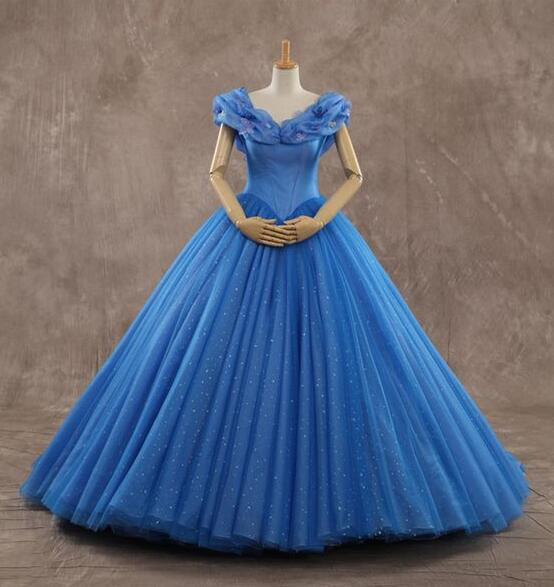Ball Gown Bling Ice Blue Modern Cosplay Cinderella Wedding Dresses Bridal Gowns