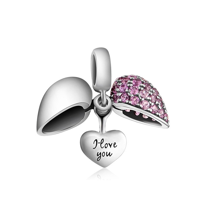European I Love You Heart Charm,Silver Charm Fit DIY Charm Bracelet