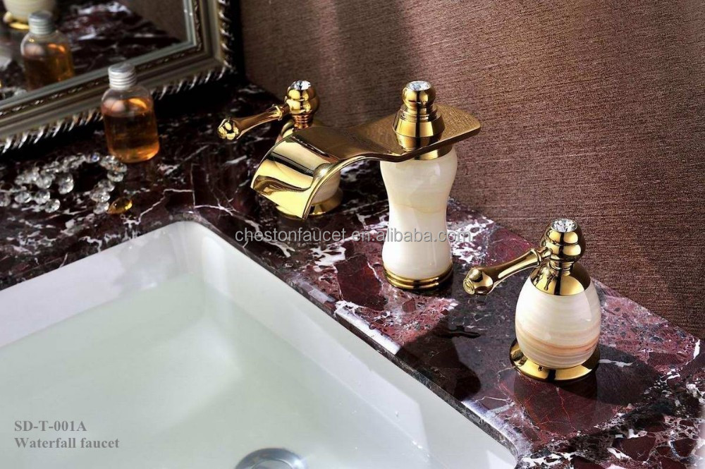 gold finish Polished stone Waterfall brass Bathroom faucet tap