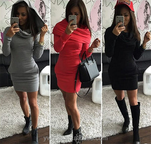Winter Autumn Hooded Dress Package Hip Elegant Short Fashion Casual Dress Women 2015