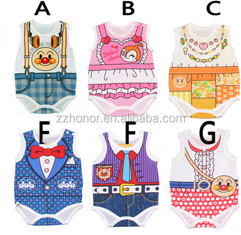 2016 hot sale european candy bread superman vest ropmer, lovely one-piece suit for kids