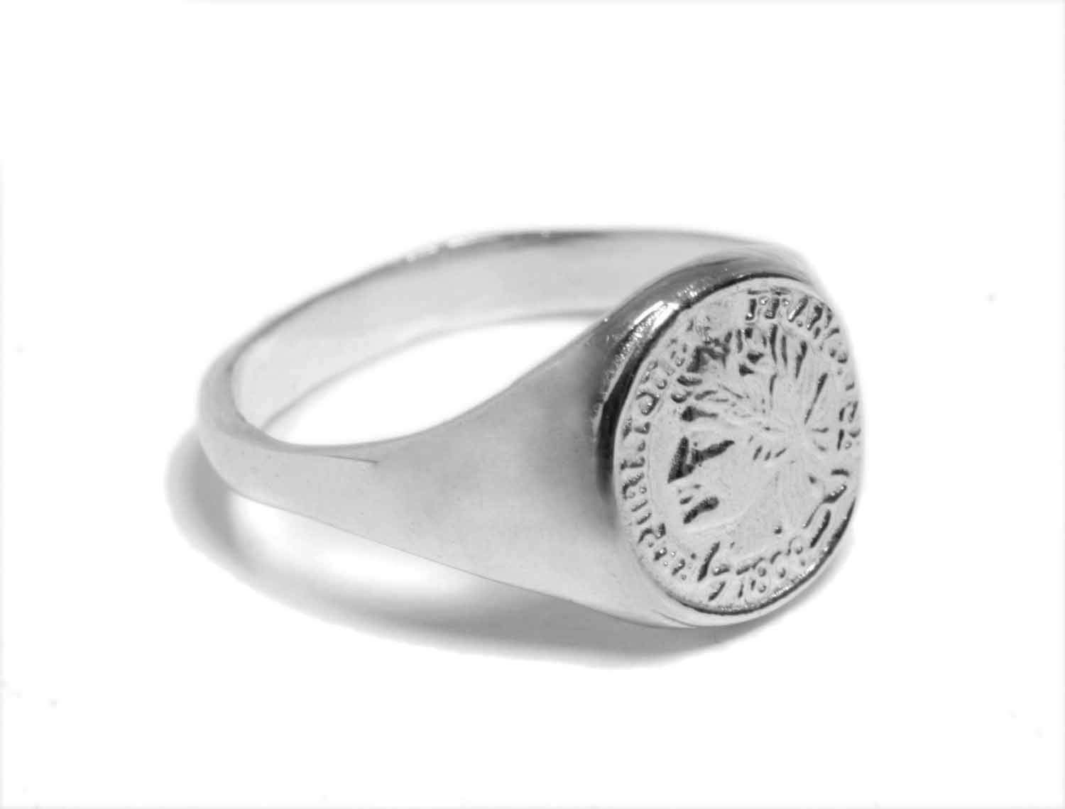 dbff0a1851 Get Quotations · Sterling Silver Coin Signet Ring, French Woman Imprint Seal  Pinky Ring, Handmade Designer,