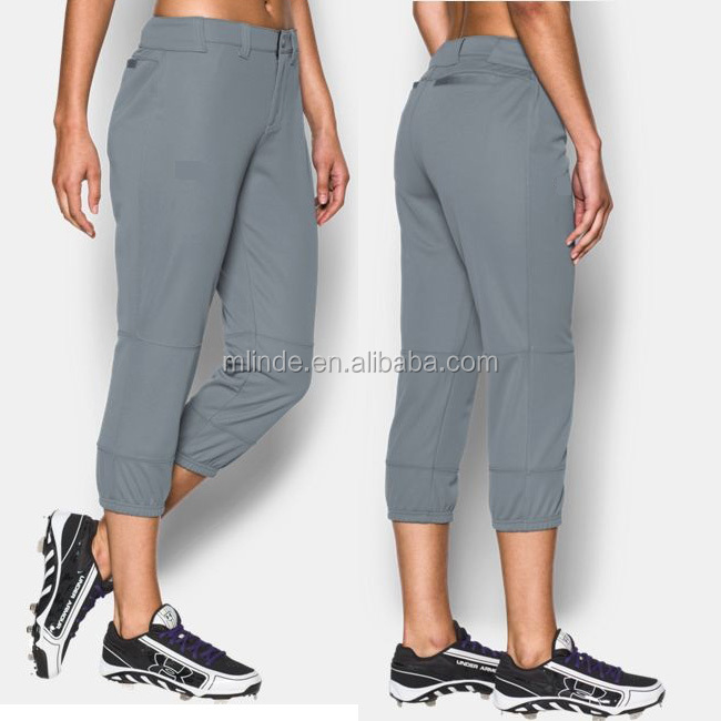 Durable double Layer Fabric Pants Elastic Waistband Zipper Buttoned Trousers Triple Ruffle Pants Women's Softball Pants
