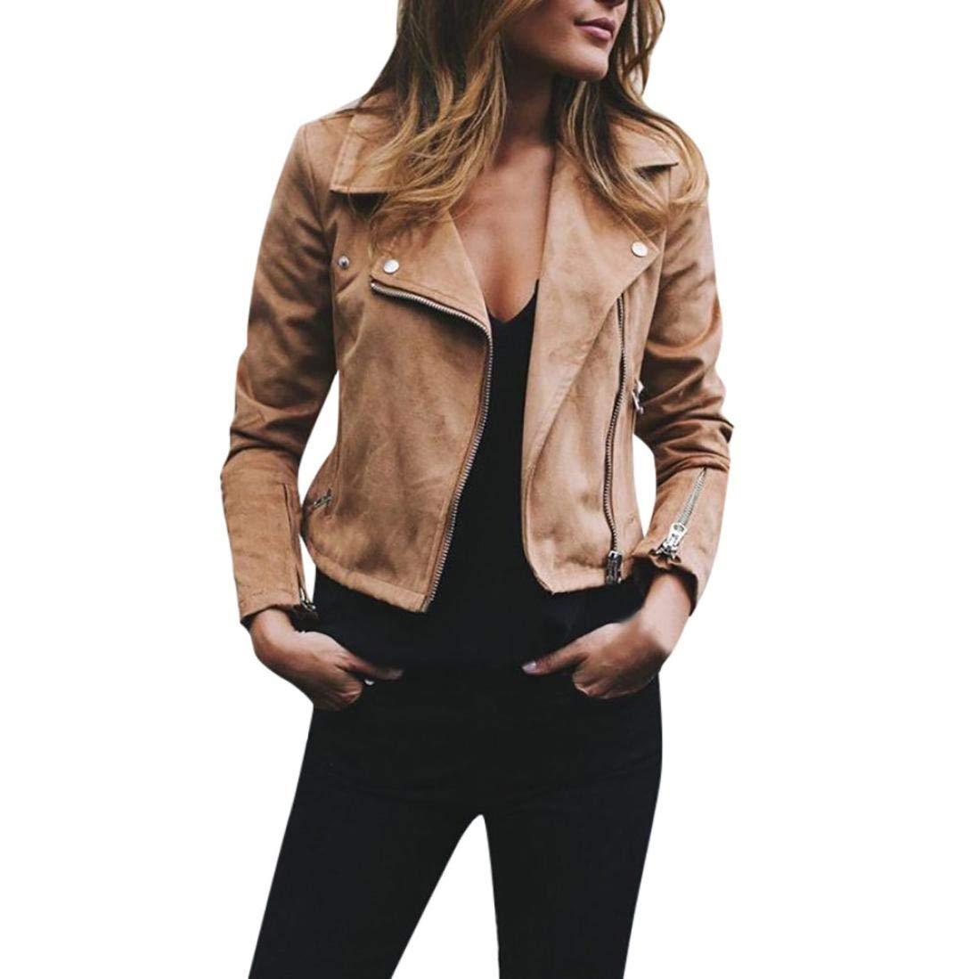 Sikye Women Short Coat Ladies Retro Rivet Zip Bomber Coat Outwear Autumn Street Style
