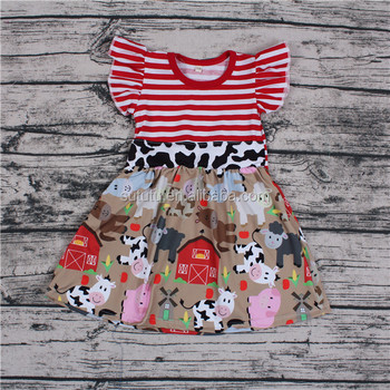 Sue Lucky Kids For Girls Printed Flutter Sleeve Girl Bur Photos Summer Animal Cow Clothing Dresses