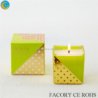 Colorblock scented wax candle jars with color box/ bling wedding centerpiece