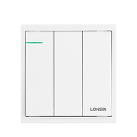 Modern electric 16A 3 gang 1 way light dimmer wall switch