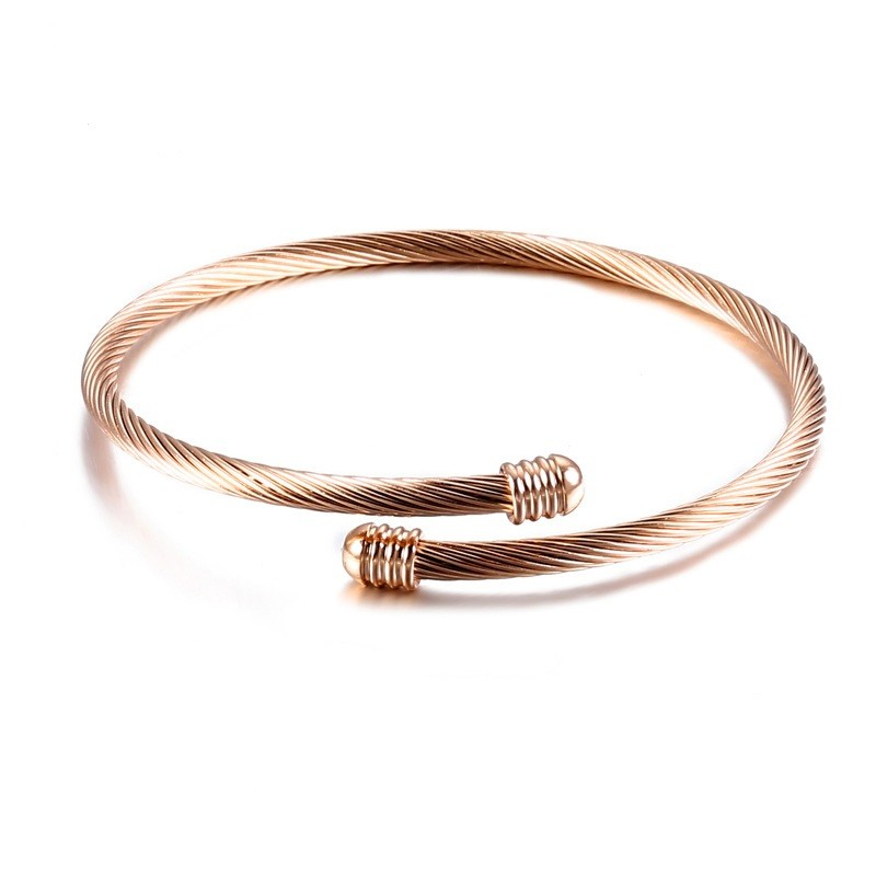 3ec223206e5 Expandable Cable Wire Bracelet Stainless Steel Twisted Cuff Bangle for Women