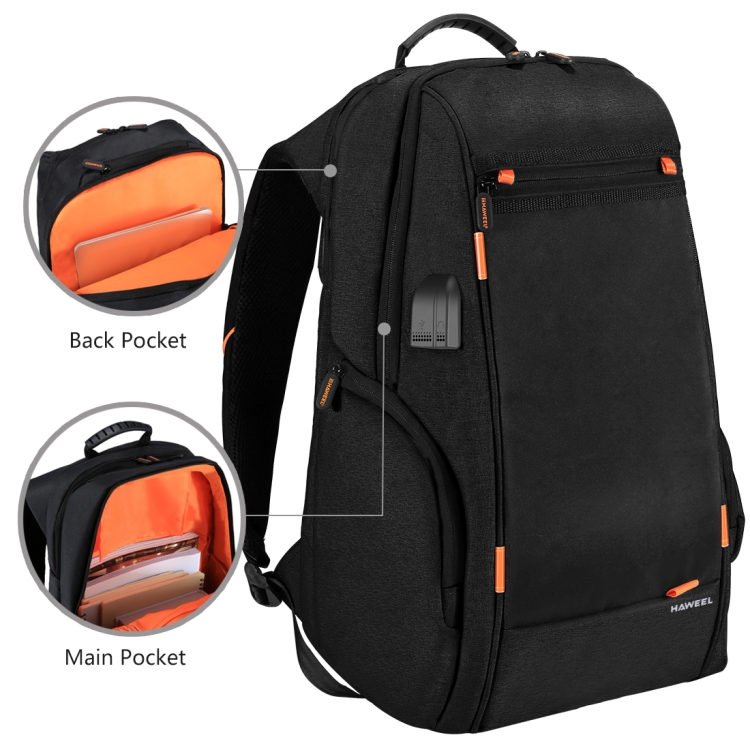 Haweel Outdoor Multi-Fungsi Ransel 7W Panel Tenaga Surya/Solar Panel Nyaman Kasual Tas Laptop Withexternal Port Pengisian Usb Port Earphone