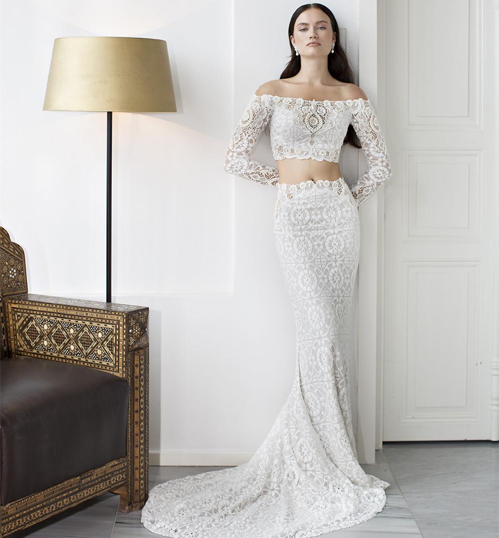 2015 Summer Sexy 2 Pieces Wedding Dress Boat Neck Long