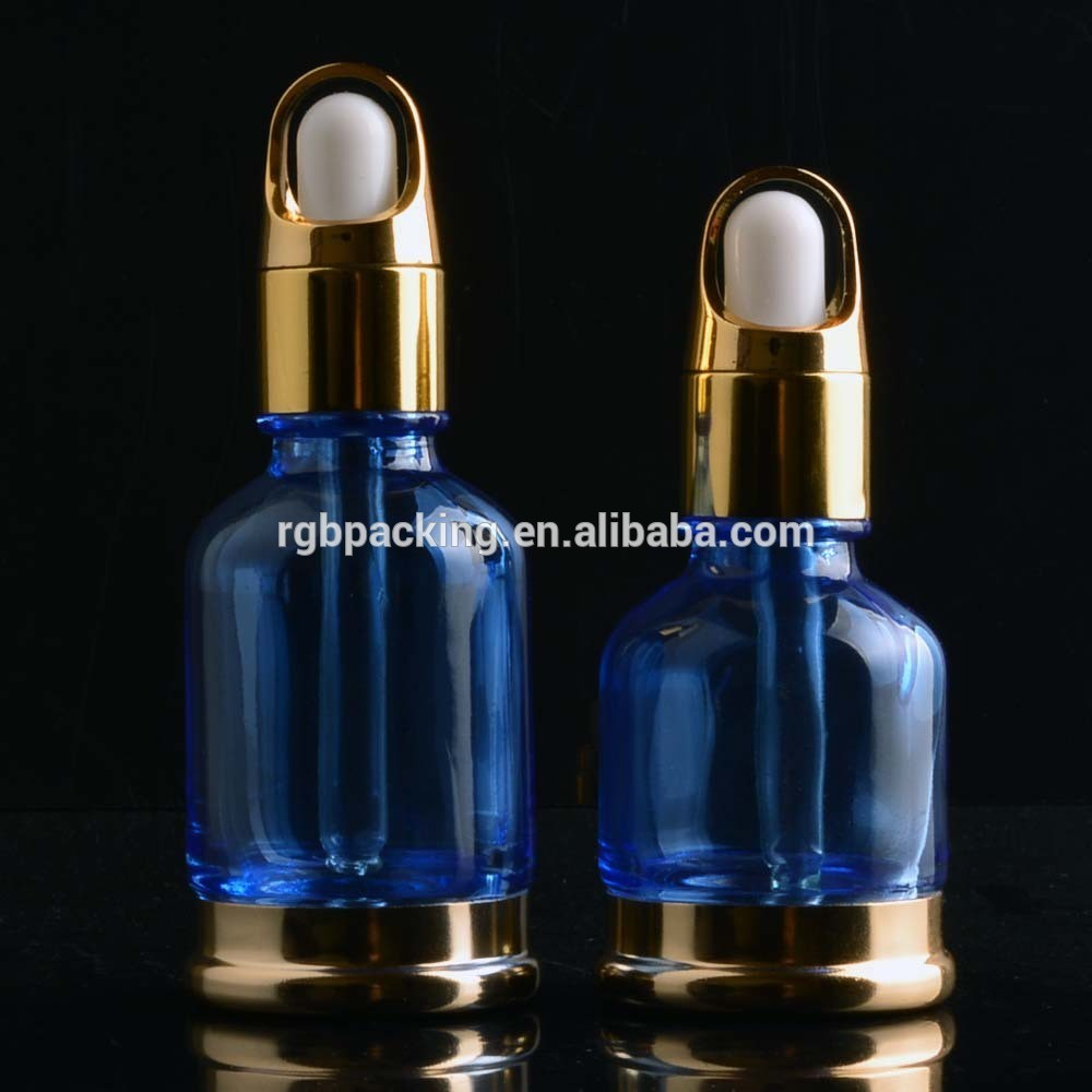 30ml 50ml blue colored serum dropper glass cosmetic glass essential oil bottle