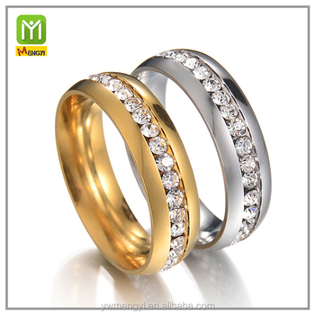 Latest Design Gold Silver e Row Diamond Engagement Couple Ring