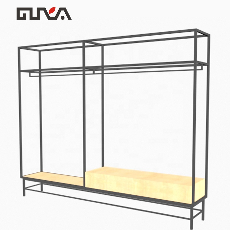 <strong>Retail</strong> store wood clothing shop metal round clothes display stand metal shelf