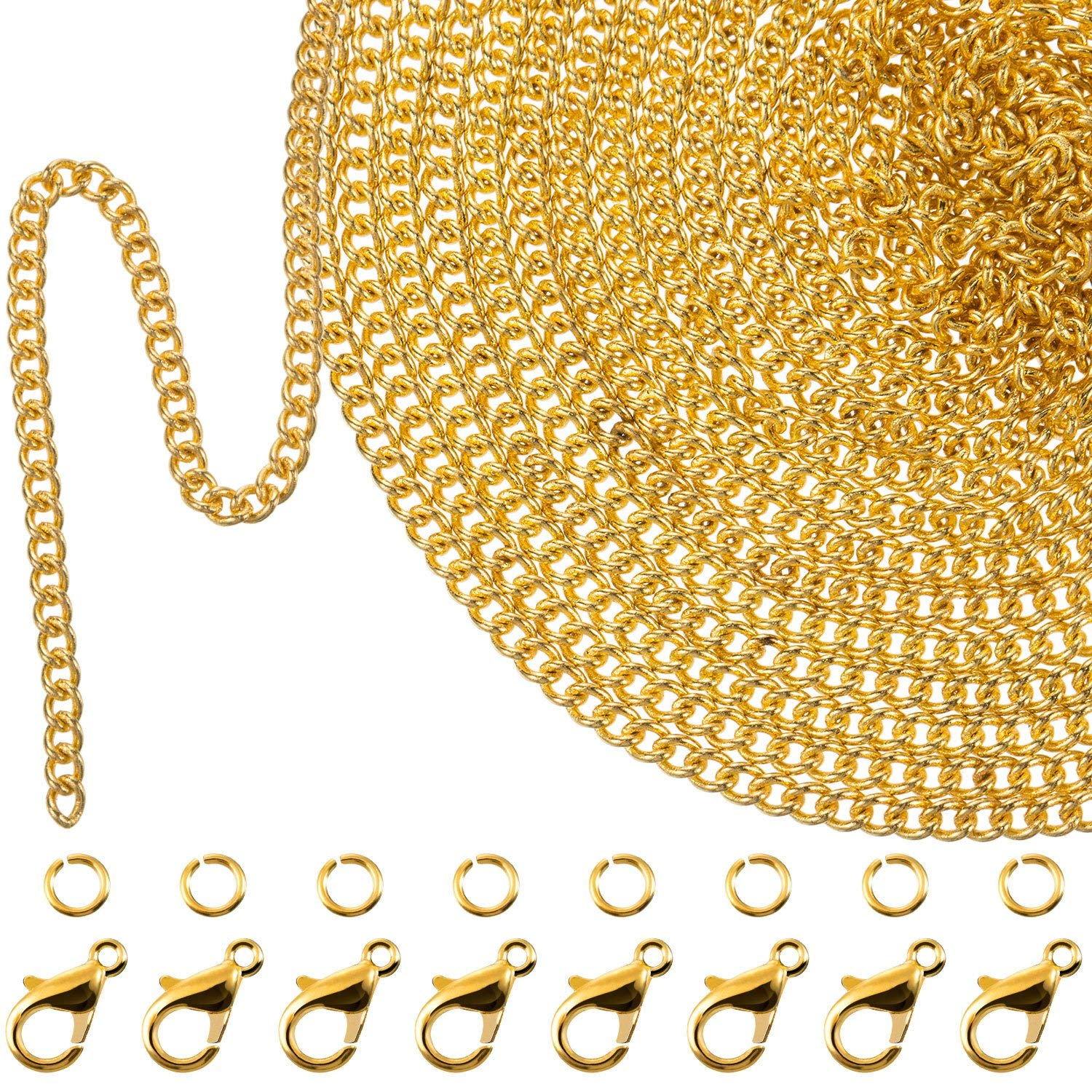 Gold Color 39.4 Feet 2 mm Link Chain Necklace Jewelry Plier with 30 Pieces Lobster Clasps and 100 Pieces Jump Rings for Jewelry Accessories DIY