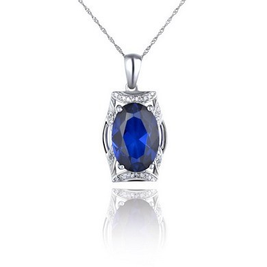 925 Sterling Silver Women Natural Sapphire Gemstone Necklace
