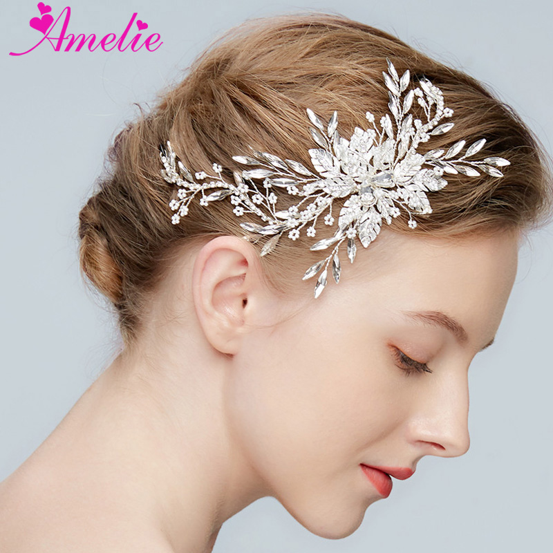Bridal Headpiece Marquise Burst Floating Beads Rhinestone Chain Bridal Hair Clip Wedding Accessories Princess Prom Headpiece