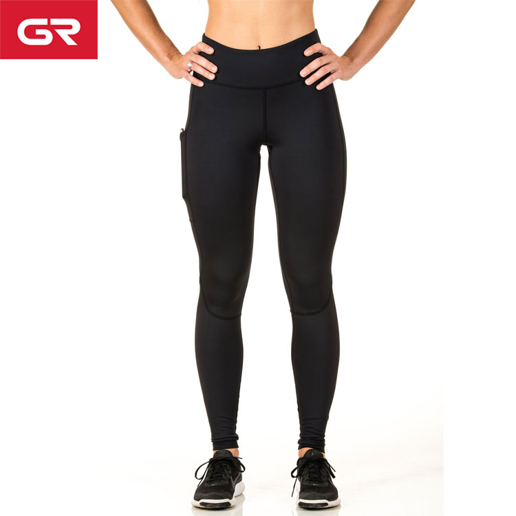 Dry Fit Compression Pants Four Way Stretch Womens Gym Leggings With Pockets
