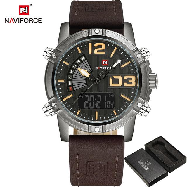 NAVIFORCE 9095 Men's Fashion Sport Watches Men Quartz Analog Date Clock Man Leather Military Waterproof Watch фото