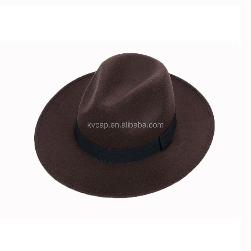 Grey Wool Felt Cowboy Fedora Trilby Hat Indiana Jones Style Wide Brim