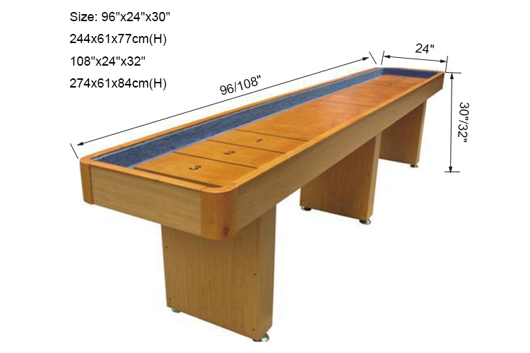 SZX Superior customized solid wood shuffleboard game table made in china