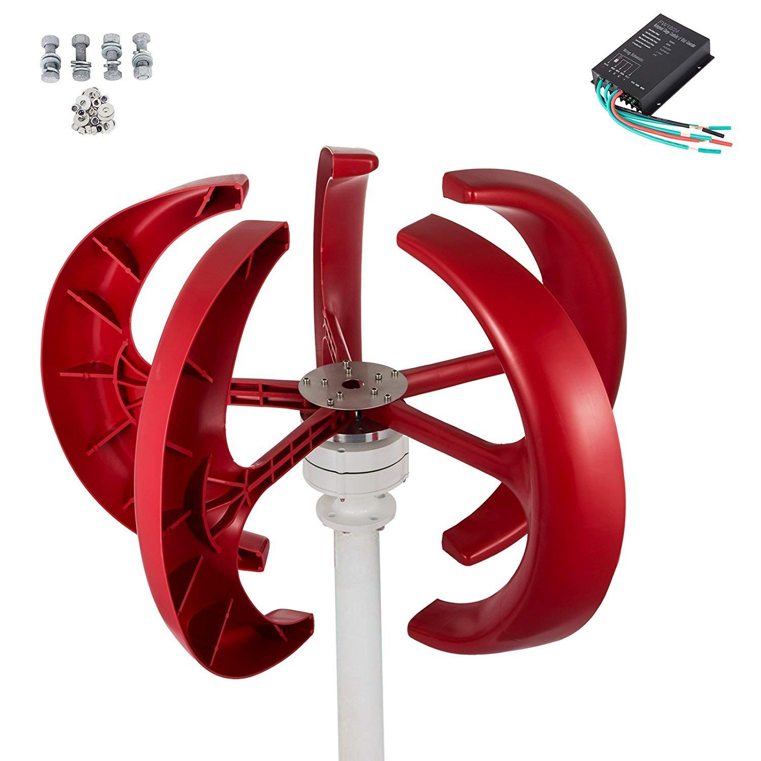 VEVOR Wind Turbine 400W 12V Wind Turbine Generator Red Lantern Vertical Wind Generator 5 Leaves Wind Turbine Kit with Controller
