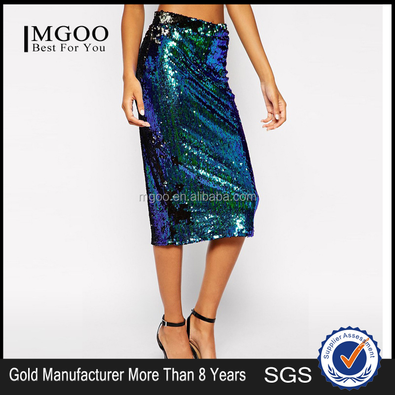 MGOO Special Branded Design Women Sequin Slinky Skirts Green Shinning Midi Party Skirts For Ladies 15145B391