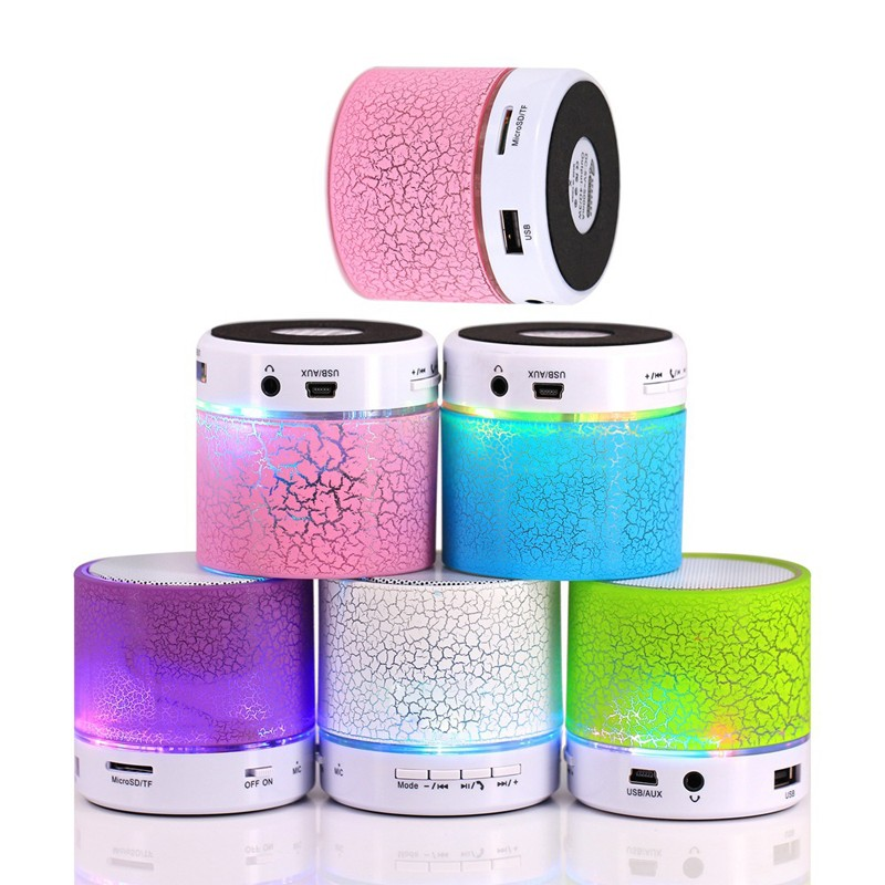Portable Mini LED Light Speaker Wireless Speaker Hands Free Speakers Support TF USB FM For iPhone For Android