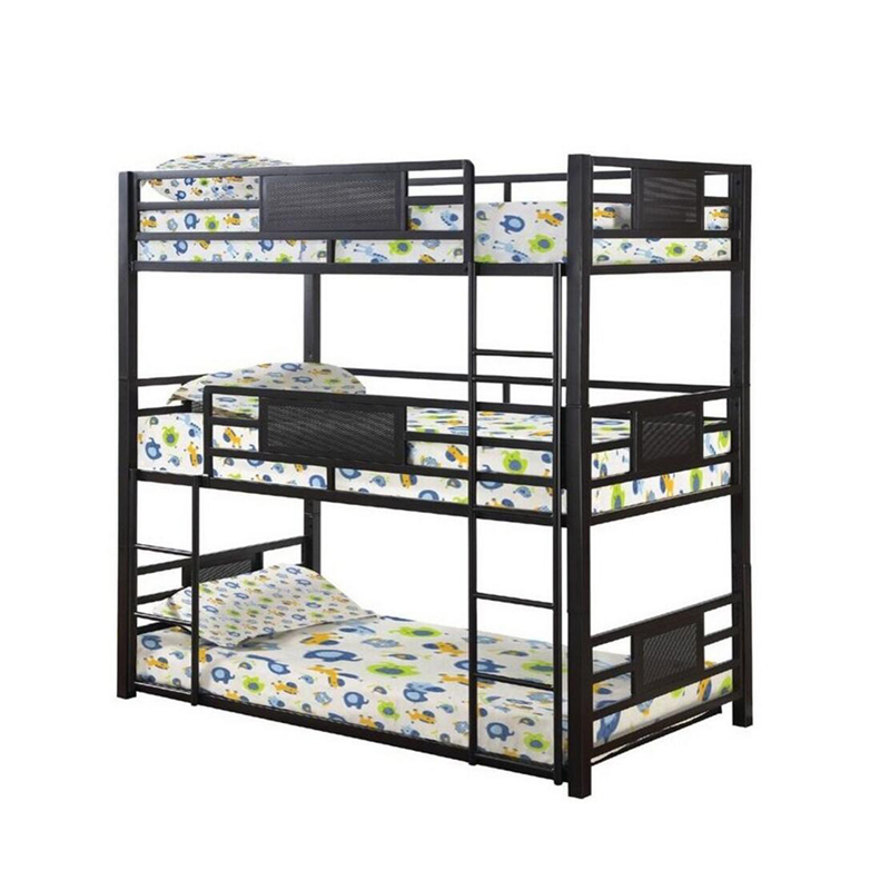 Army Surplus Metal Black Beds 3 Persons Steel Bunk Bed Iron Frame For Kids Designer