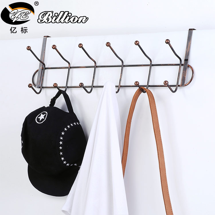 China factory Bedroom Bathroom Kitchen decorative over door coat Metal Hanger 12 hooks for clothes keys displaying