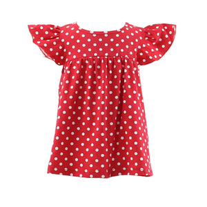 2017 summer new design baby dress pictures boutique sleeveless ruffle polka dot dress western baby 1 year old party dress