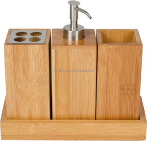 Bathroom Vanity Set for Toiletry Accessories - Renewable Bamboo Wood (4 Pieces: Soap Dispenser, Toothbrush Holder, Cup, Tray)