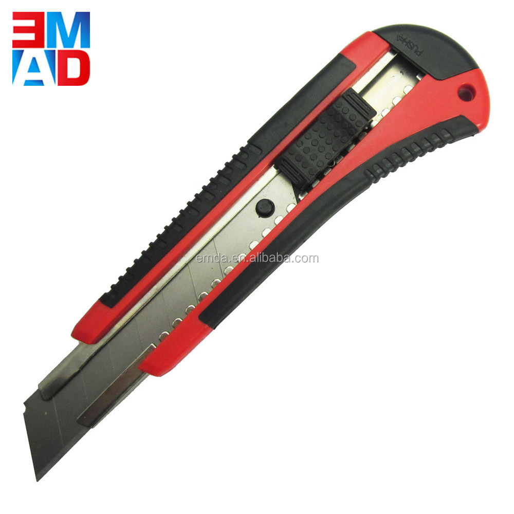 Office paper cutting rubber handle sliding blade utility knife