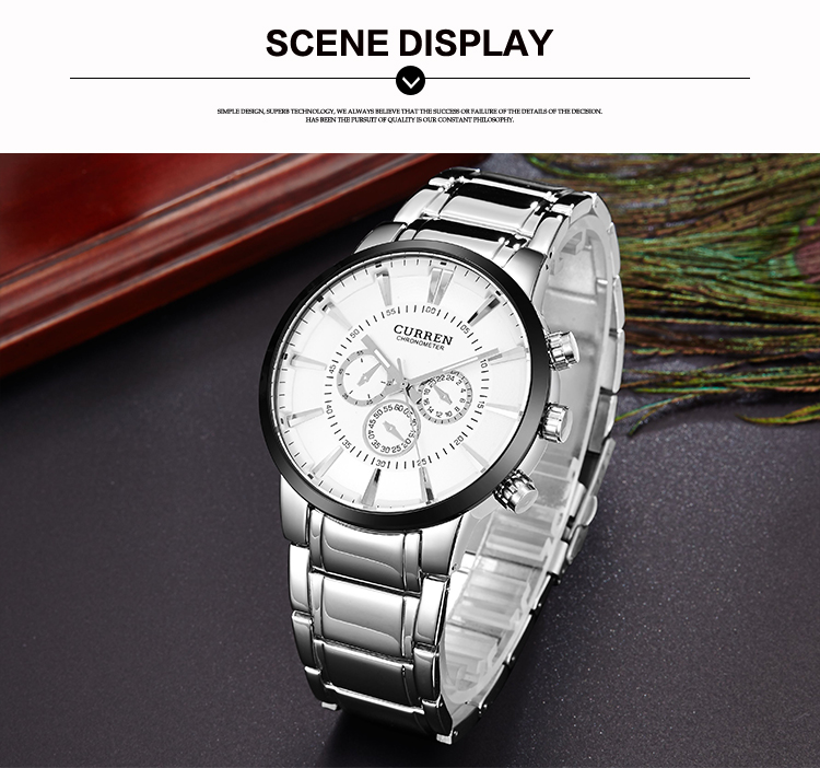 Curren Brand 8001 Silver Stainless Steel Japan Quartz Movt Mens Watch Luxury Brand Watch