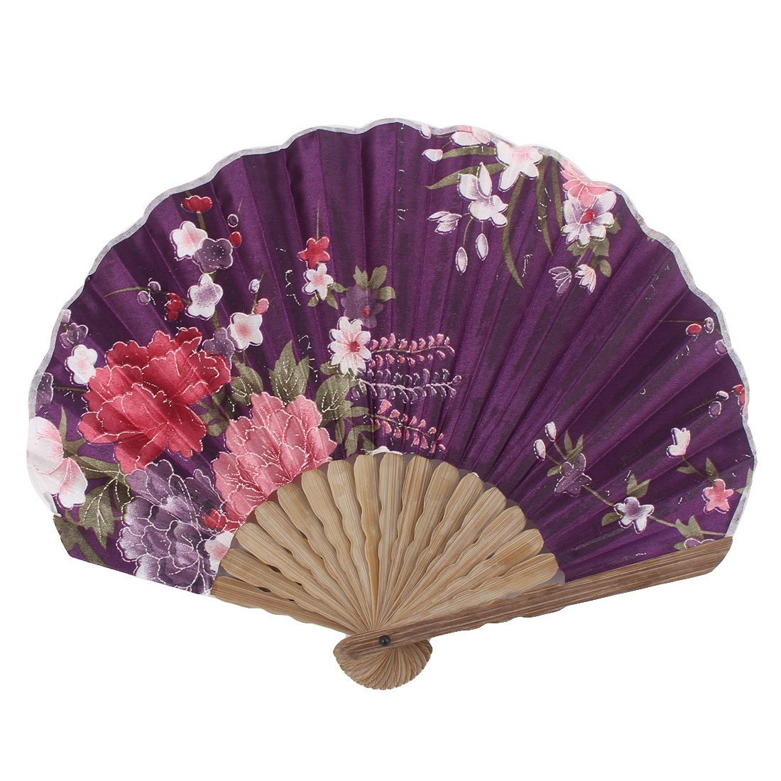 uxcell Peony Flower Printed Ladies Summer Hand-held Folding Dancing Hand Fan Colorful
