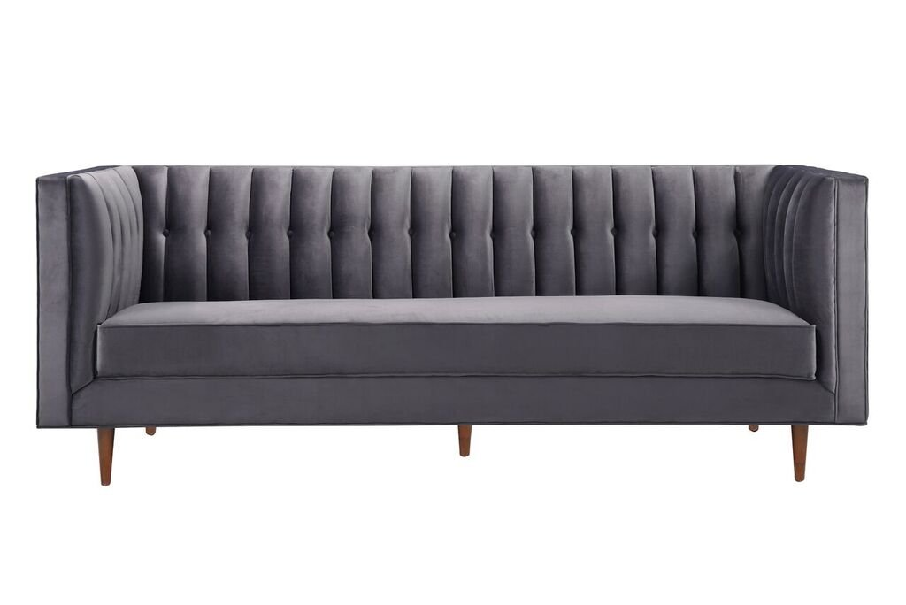 Get Quotations Tov Furniture The Sebastian Collection Modern Contemporary Tufted Velvet Living Room Sofa Gray