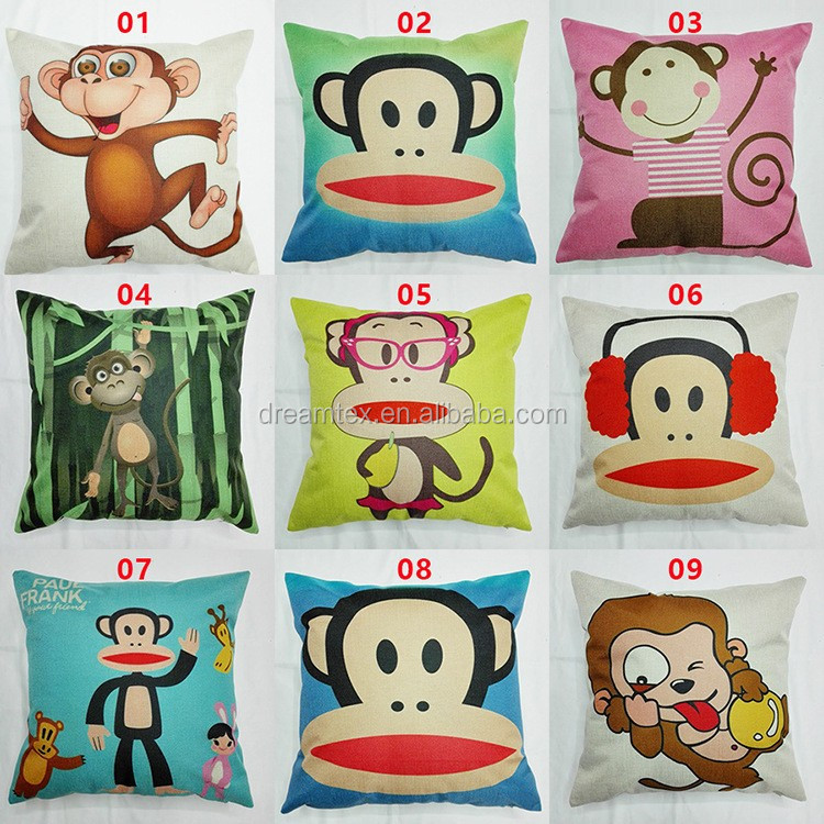 2018 linen cotton custom printing decorative cushion cover